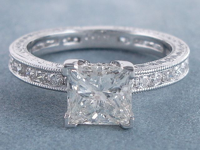 2.04 ctw Princess Cut Diamond Engagement Ring G SI3. For sale on our website www.bigdiamondsusa.com or call us at 1-877-795-1101 for more information.