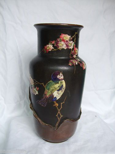 Bretby Vase By Henry Tooth With Cloisonne Copperette Hand Painted