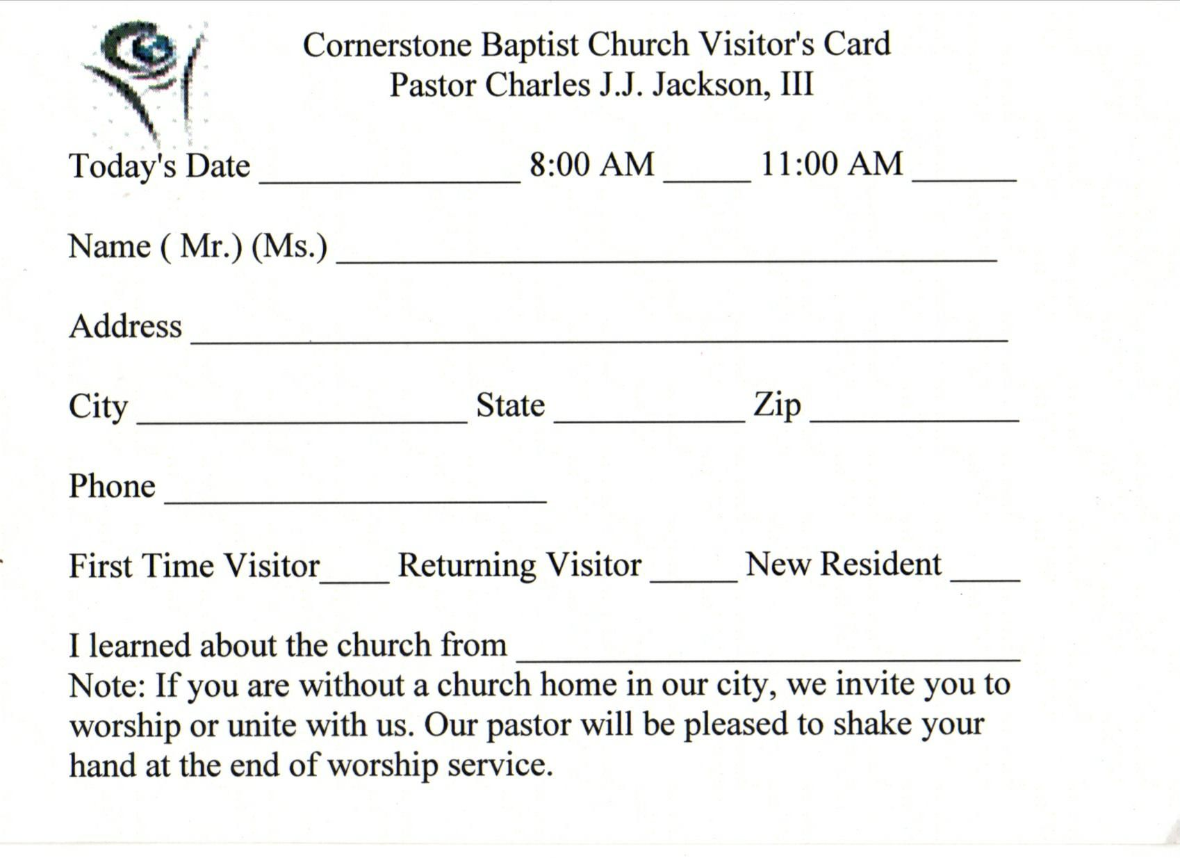 Printable Church Membership Cards Related Keywords Visitor Intended For Church Visitor Card Template Word Card Template Word Template Business Card Template
