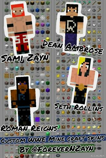 Custom WWE Minecraft Skins Made By Me ForeverNZayn Minecraft - Skin para minecraft pe wwe