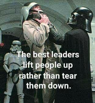 Sarcasm. The best leaders lift people p rather than tear them down. Darth  Vader | Star wars jokes, Star wars humor, Star wars memes