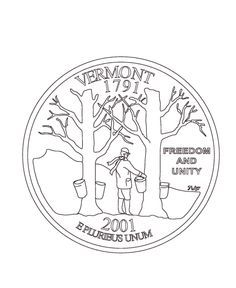 Coloring Pages Vermont U S States Happy Birthday Vt 3 4 1791