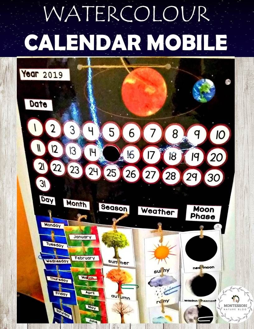 Calendar Mobile for Children in Watercolor with Moon