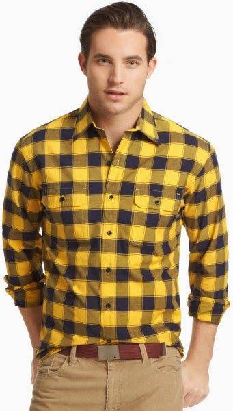 Cuadros Amarillos Plaid Shirt Men Mens Shirts Twill Shirt