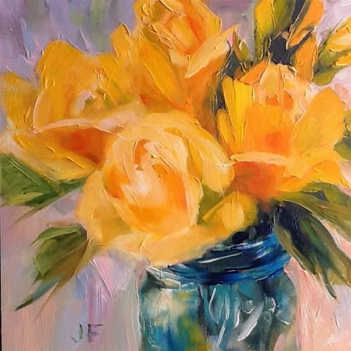 "Daily Paintworks - ""Blue Jar with Yellow Roses"" - Original Fine Art for Sale - © Jean Fitzgerald"