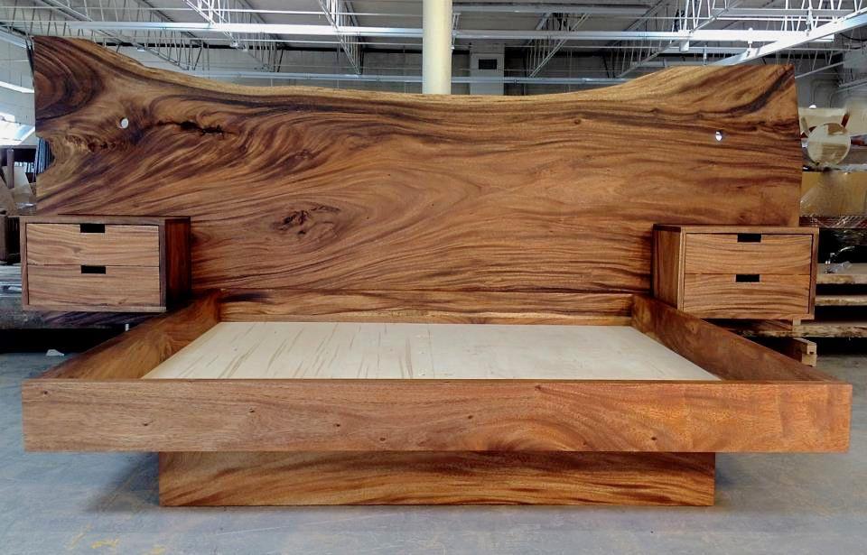 Monkeypod Headboard And King Platform Bed With Floating Nightstands Bjorling Grant Walnut Wood Furniture Walnut Furniture Walnut Bedroom