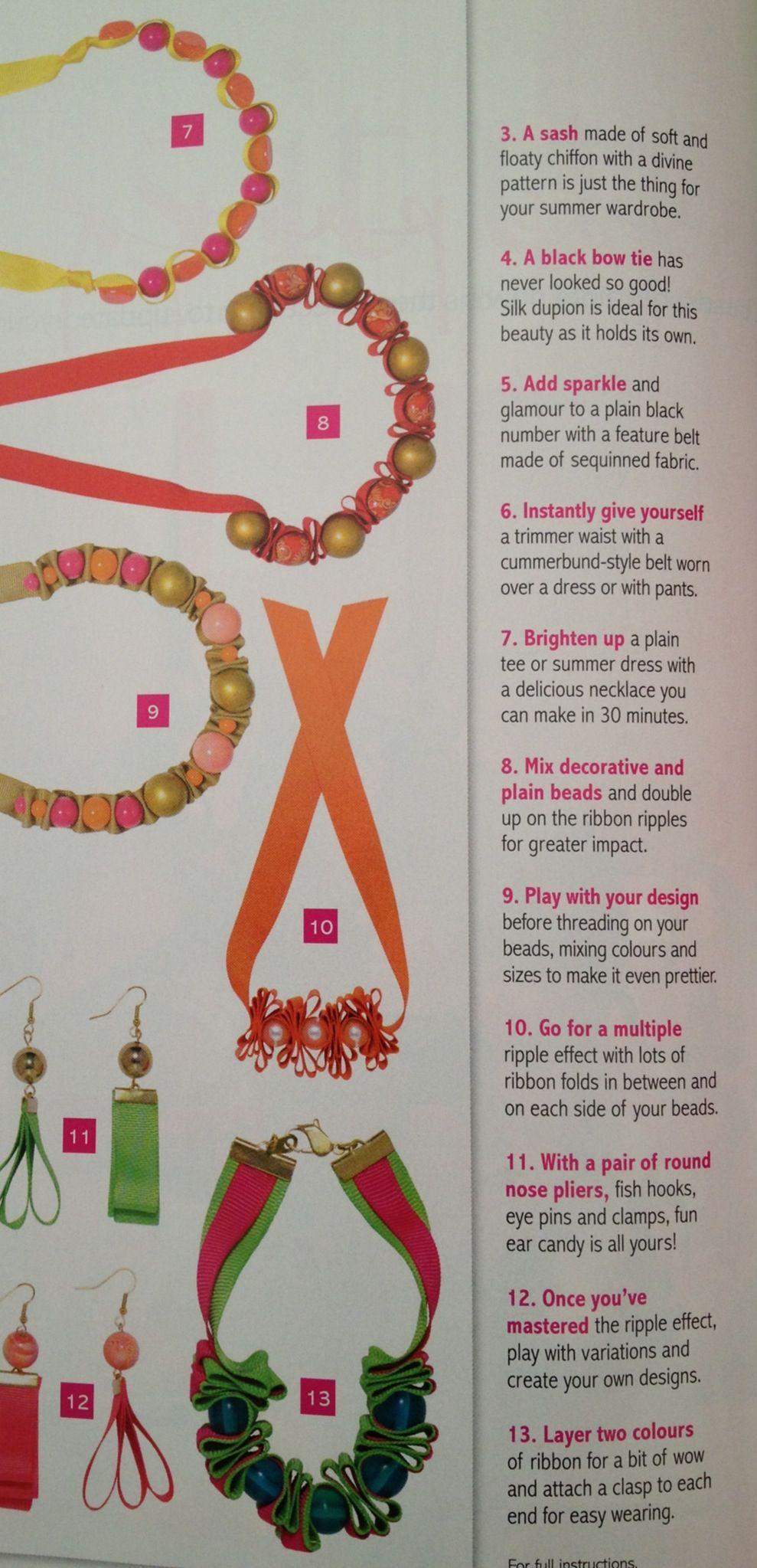 Ribbon bracelet/necklace ideas