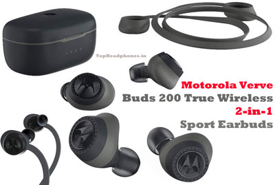 Motorola Verve Buds 200 True Wireless 2 In 1 Sport Earbuds With Alexa Black Review Details Specifications Under R Sport Earbuds Earbuds Best Headphones