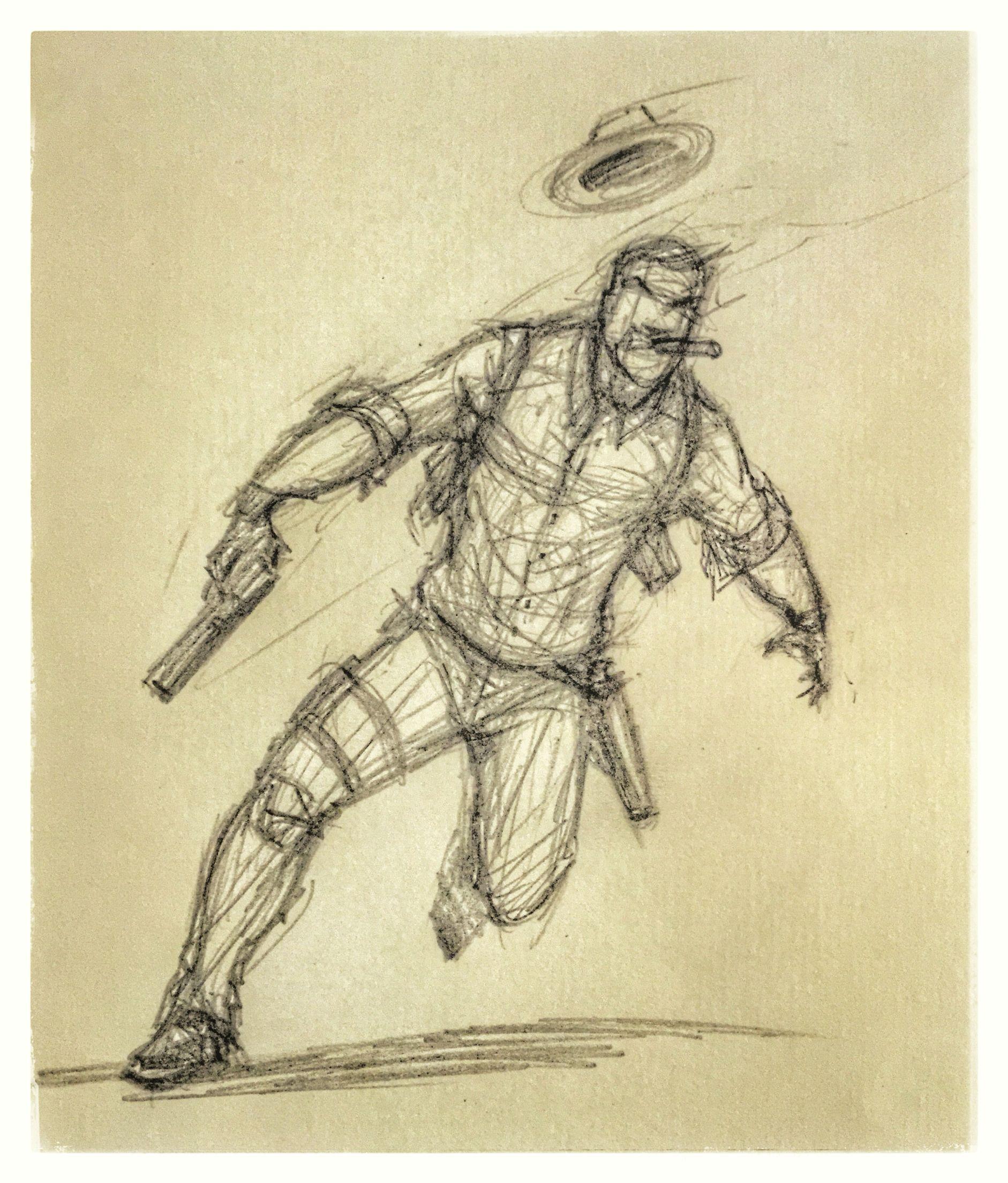 9 detective action character cigar gun flee fedora