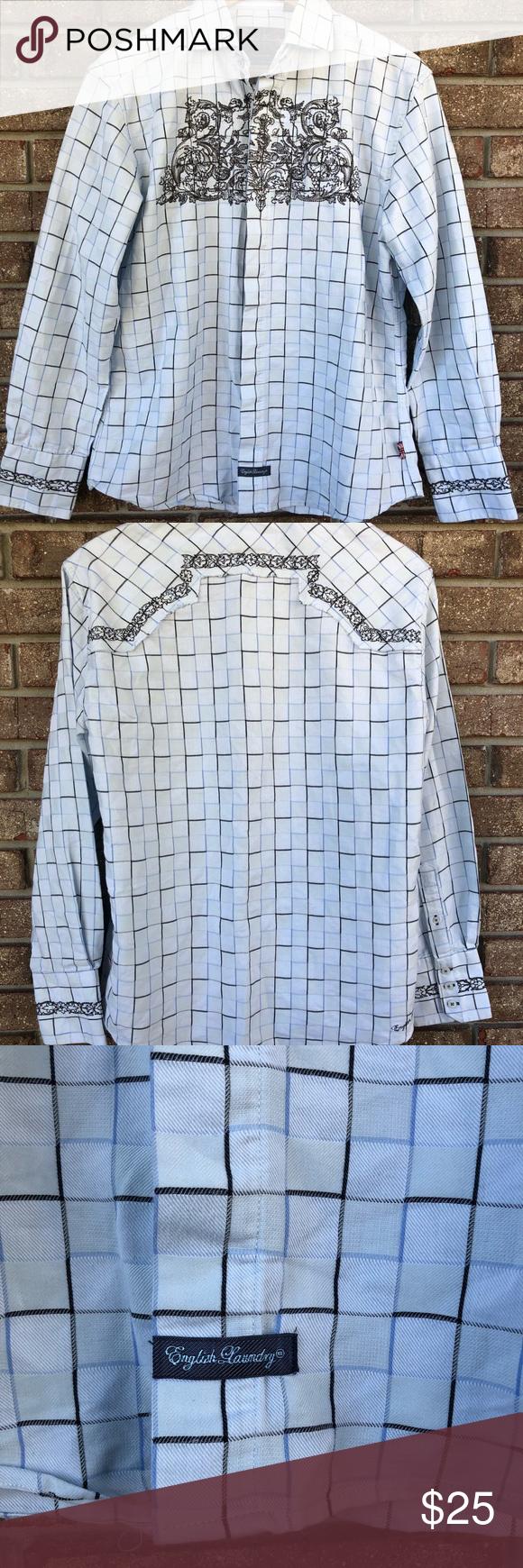 f81add61c4 English Laundry Christopher Wicks Dress Shirt S English Laundry Christopher  Wicks Dress Shirt Plaid with Black