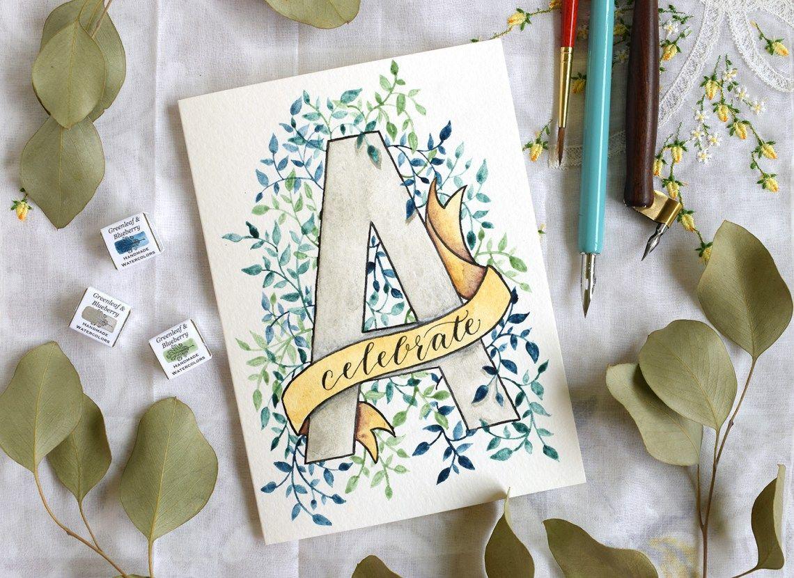 Watercolor Birthday Cards Tutorial ~ Watercolor initial diy birthday card tutorial diy birthday cards