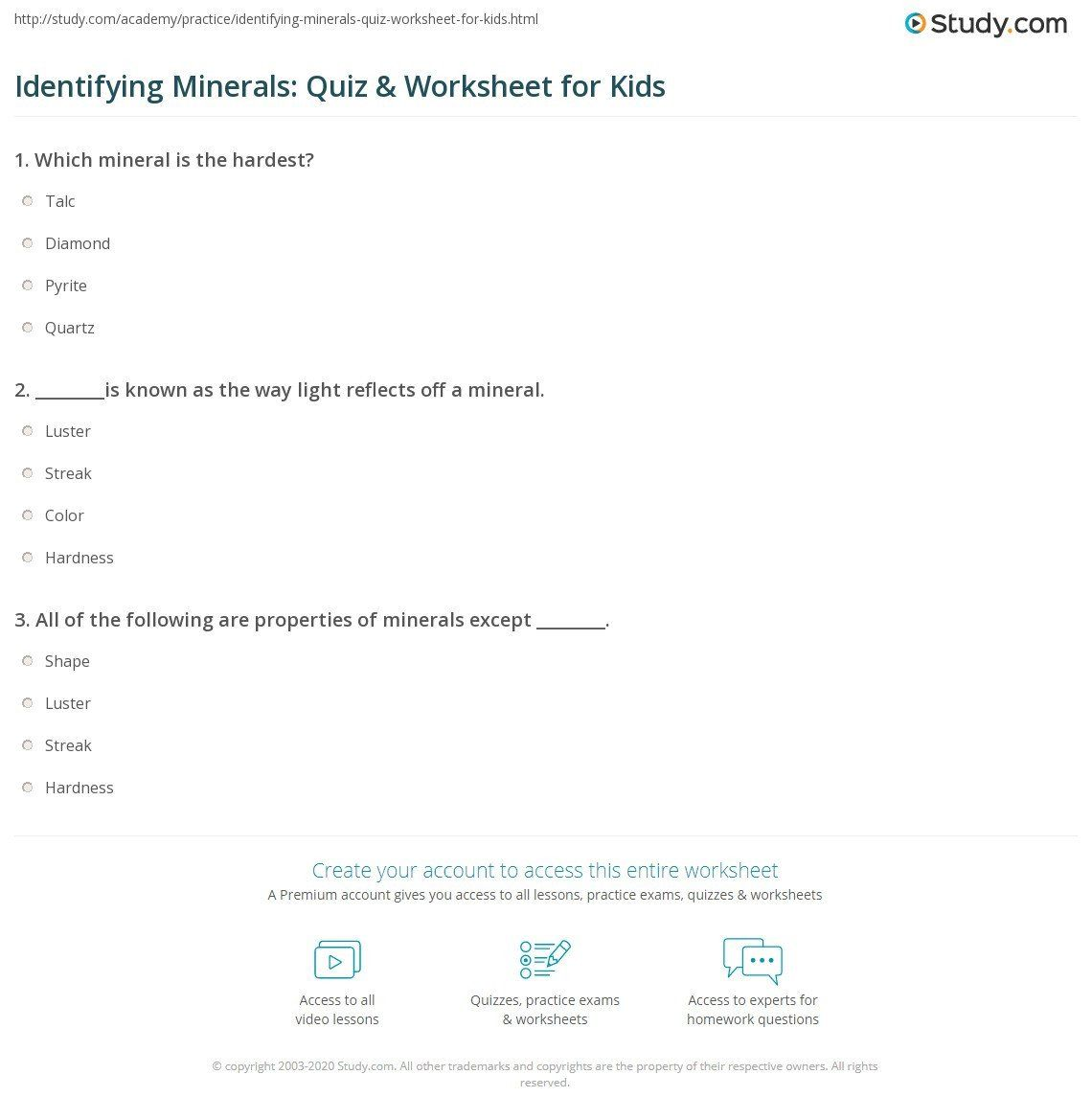 Mineral Identification Worksheet Answers Identifying ...