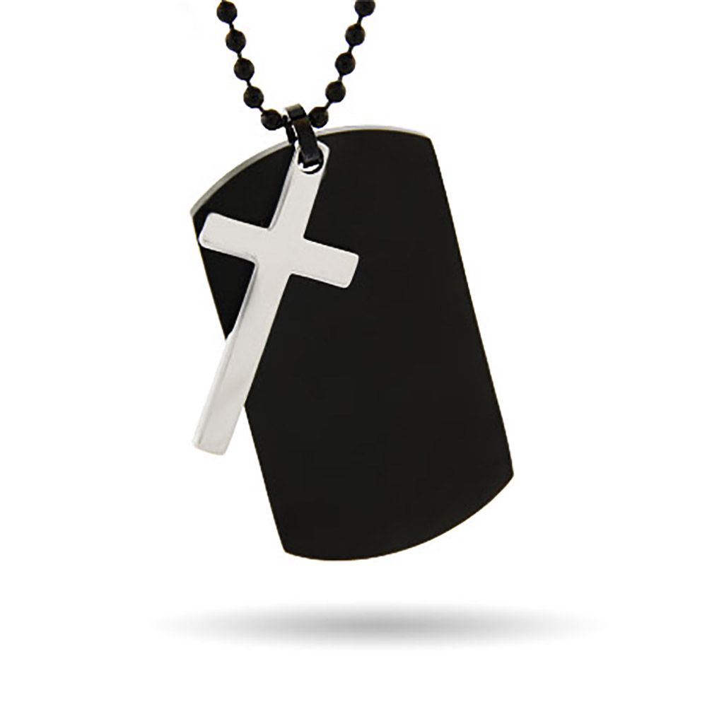 Engraved black plate stainless steel dog tag with cross dog tag with stainless steel cross engrave a personal message onto the dog tag to audiocablefo