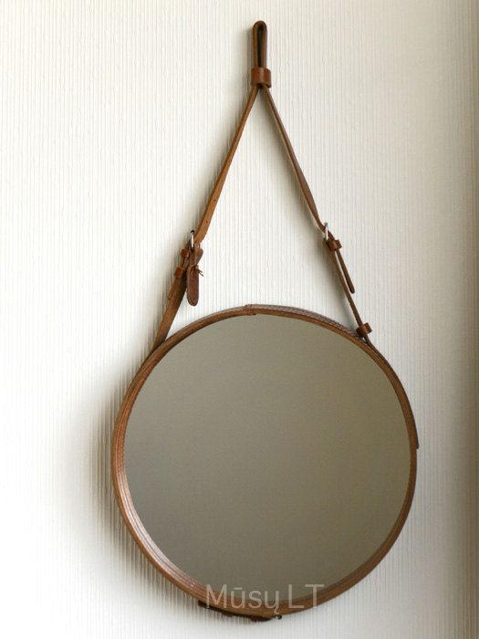 Round Wall Leather Hanging Mirror With Strap And Buckle