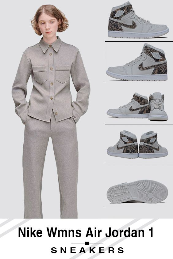 $120 Nike W Air Jordan 1 Retro HI PRM Snakeskin - Phantom AH7389-004  #airjordan1outfitwomen
