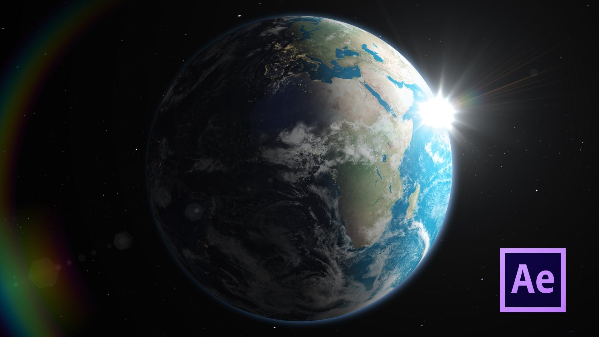 3D Earth Day To Night Rotating Planet
