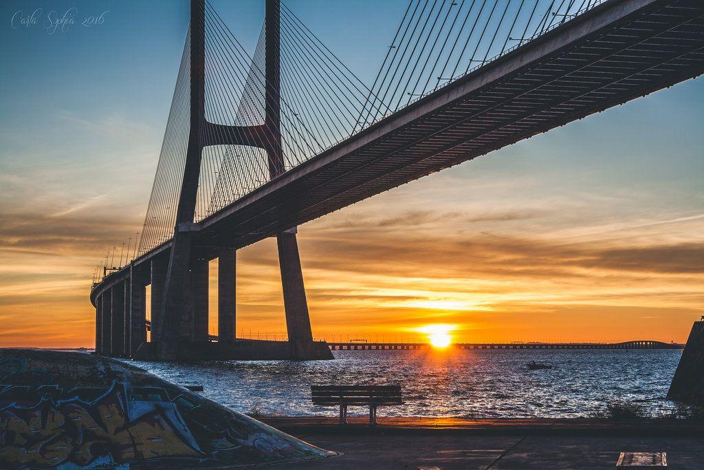 Lisboa Vasco Da Gama Bridge Watching The Sunrise By Carlasophia Vasco Da Gama Sunrise Instagram