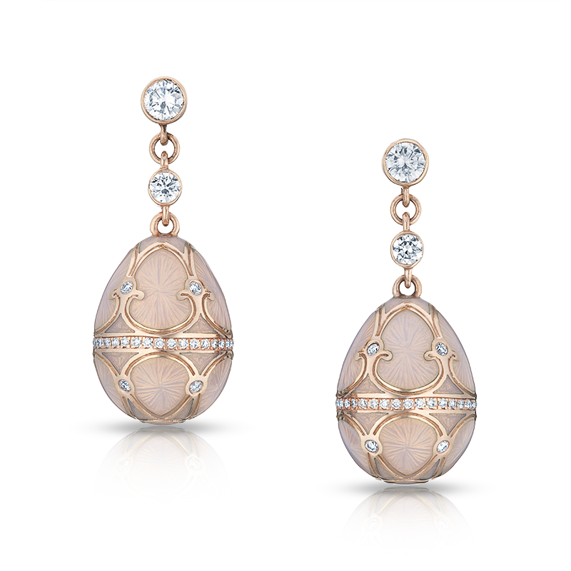 Faberg Egg Earrings Palais Tsarskoye Selo Diamond Rose Earrings