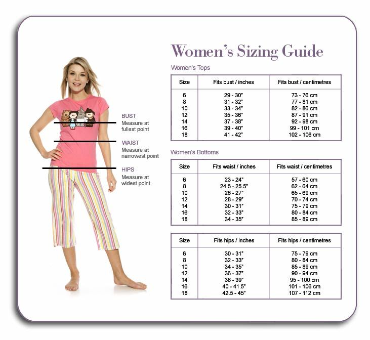 Size guide for women's clothes