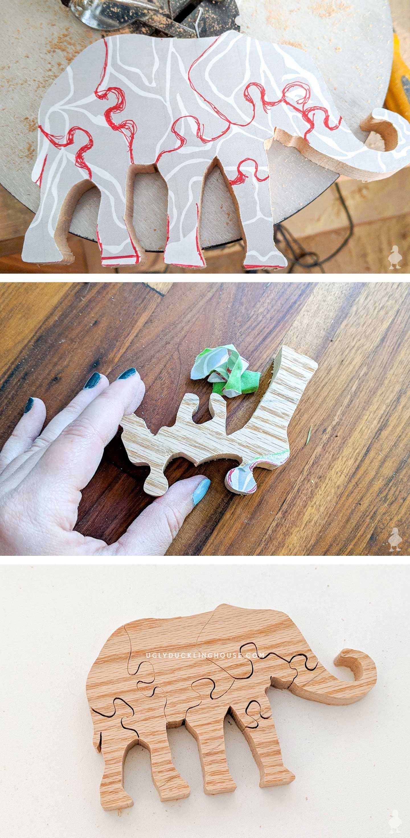 Elephant template for a scroll saw puzzle! Each piece interlocks with the other so that it can be laid flat or stand on a table. Makes a great gift and is a good introductory project for kids who are interested in woodworking #kids #diy #diygifts #giftideas #giftsforkids #childrenstoys #scrollsaw #elephant #doityourself #scrapwood #diygames #woodworkingforkids