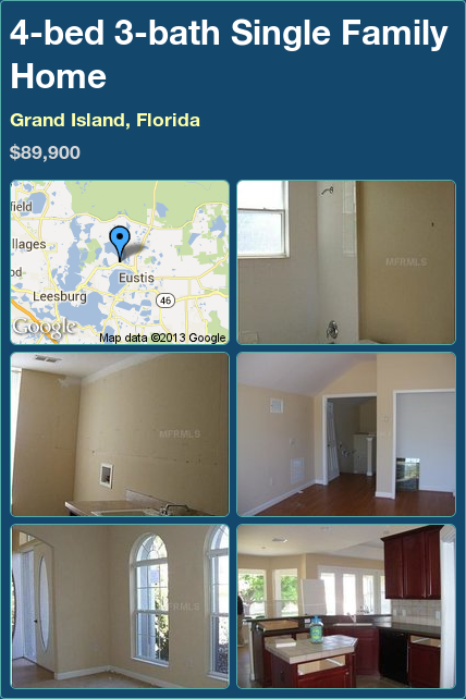 4-bed 3-bath Single Family Home in Grand Island, Florida ►$89,900 #PropertyForSale #RealEstate #Florida http://florida-magic.com/properties/12382-single-family-home-for-sale-in-grand-island-florida-with-4-bedroom-3-bathroom