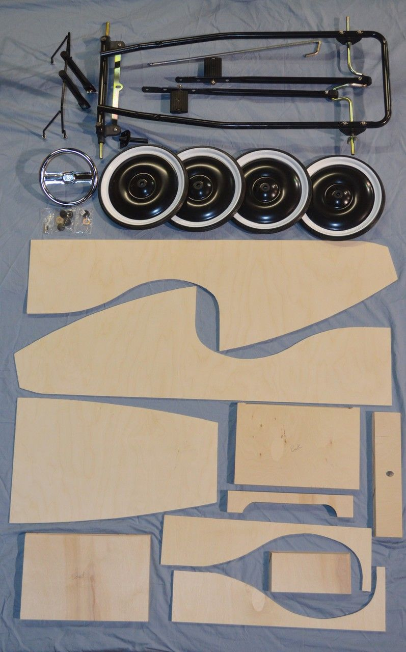 wooden pedal car kit with chassis out of stock