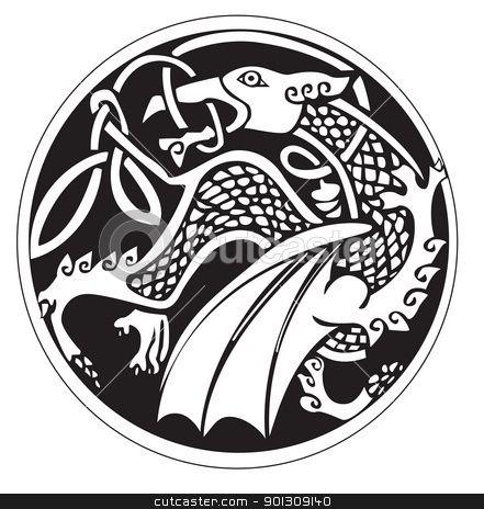 A Druidic Astronomical Symbol Of A Dragon Stock Vector