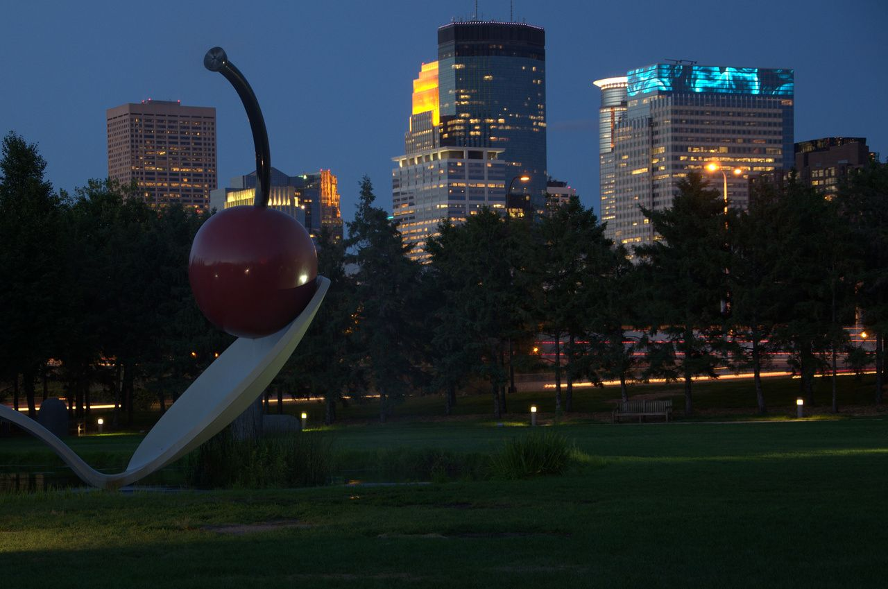 Spoonbridge Cherry Downtown Minneapolis At Night Minneapolis