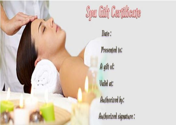 Day spa gift certificates template SPA Gift Certificate - gift certificates samples