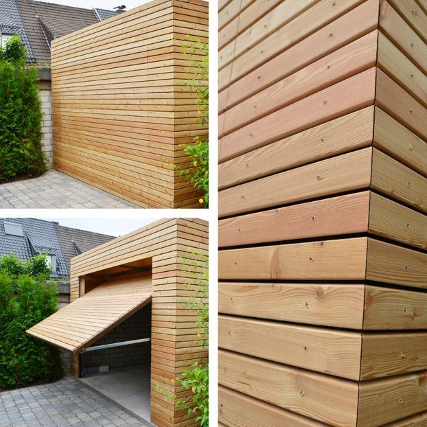 Holzgarage aus Lärche. Wir liefern Ihnen standardmäßig in Ihrem Wunschdesign Garagen und Carports mit Bauantrag und Typenstatik deutschlandweit.