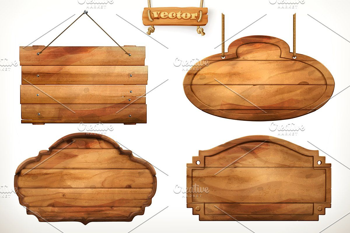 Wooden Signs Signboard Vector Icons Old Wood Wooden Board Wooden Signs
