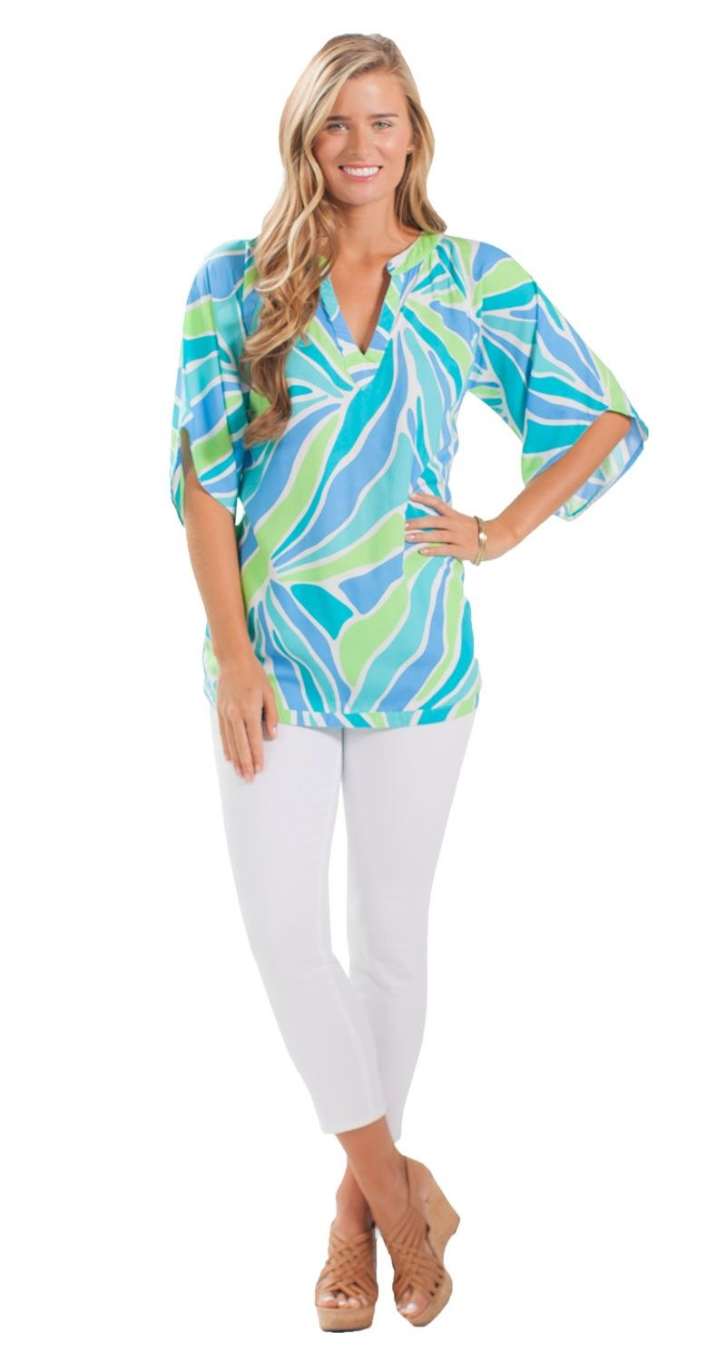 We can't get enough of this top's fun drapey sleeves and flattering V-neck!