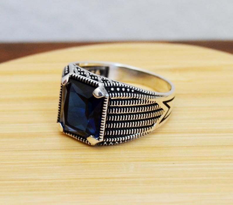 Vintage Antique Silver Plated With Black Stone Jewelry Ring Anniversary Gift CG