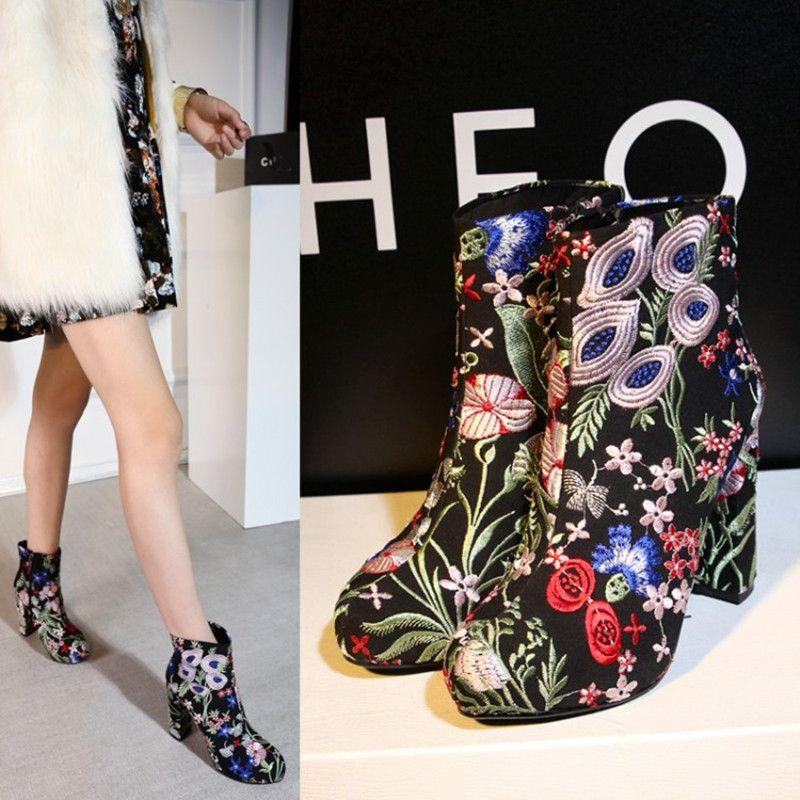 2017 Etniczne Haftowac Projektanci Mody Kobiet Botki Wysokie Obcasy Mieszane Kolory Kwiaty Kobiety Mody Martin Butow Winter Boots Women Embroidered Boots Shoes