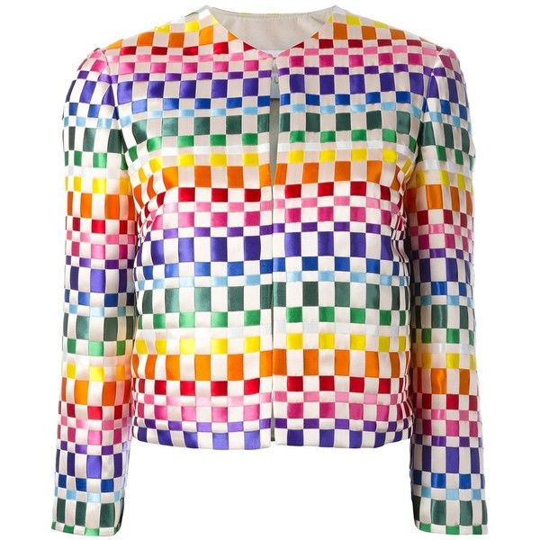 Capucci woven ribbon cropped jacket ($1,203) ❤ liked on Polyvore featuring outerwear, jackets, multicolor, woven jacket, capucci, colorful jackets, multi colored jacket and multi color jacket