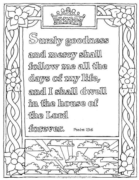 Coloring Pages For Kids By Mr Adron Printable Psalm 23 6 Coloring