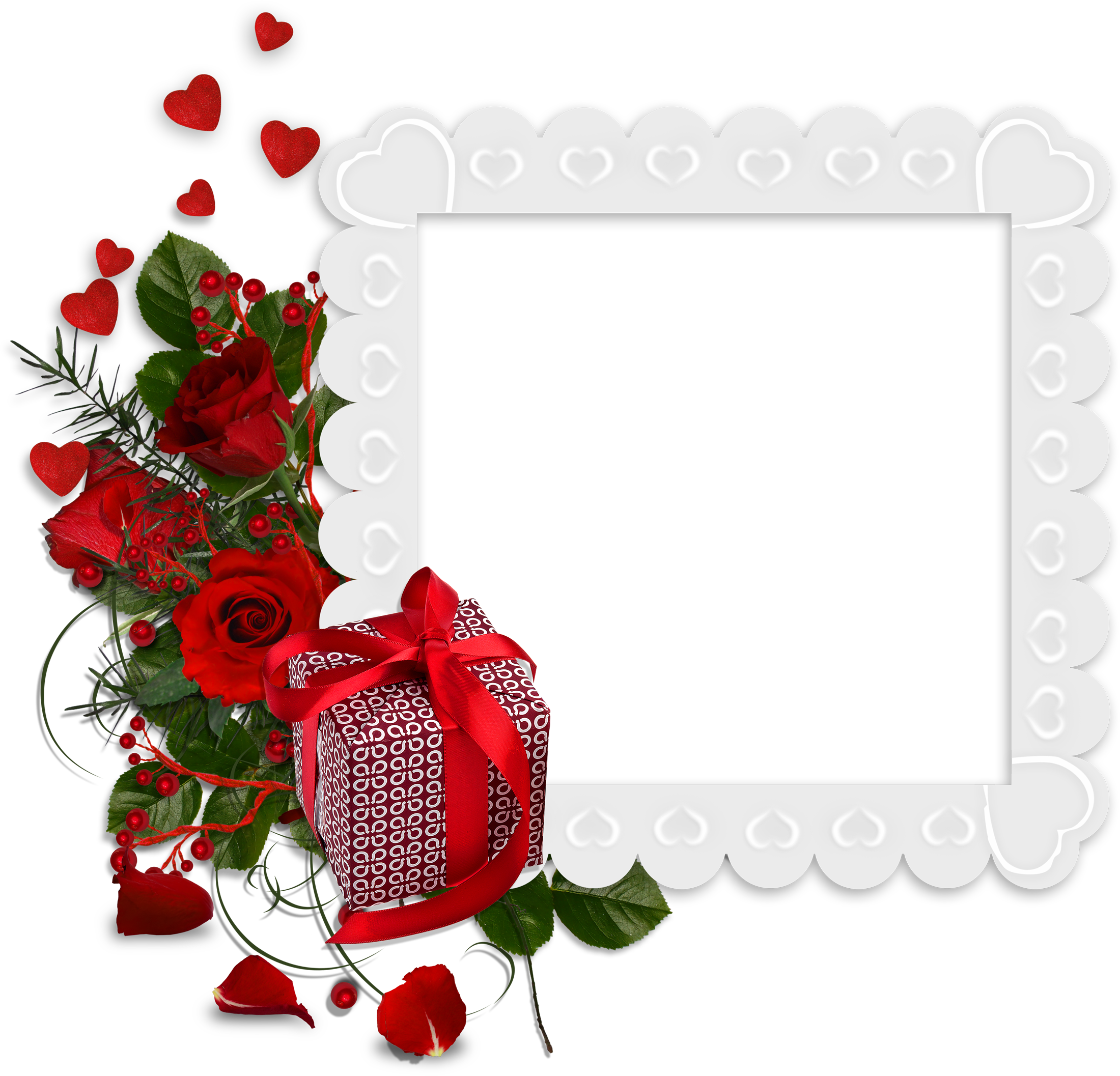 Beautiful White Transparent Frame With Hearts And Red Roses And Gift Frame Flower Frame Red Roses