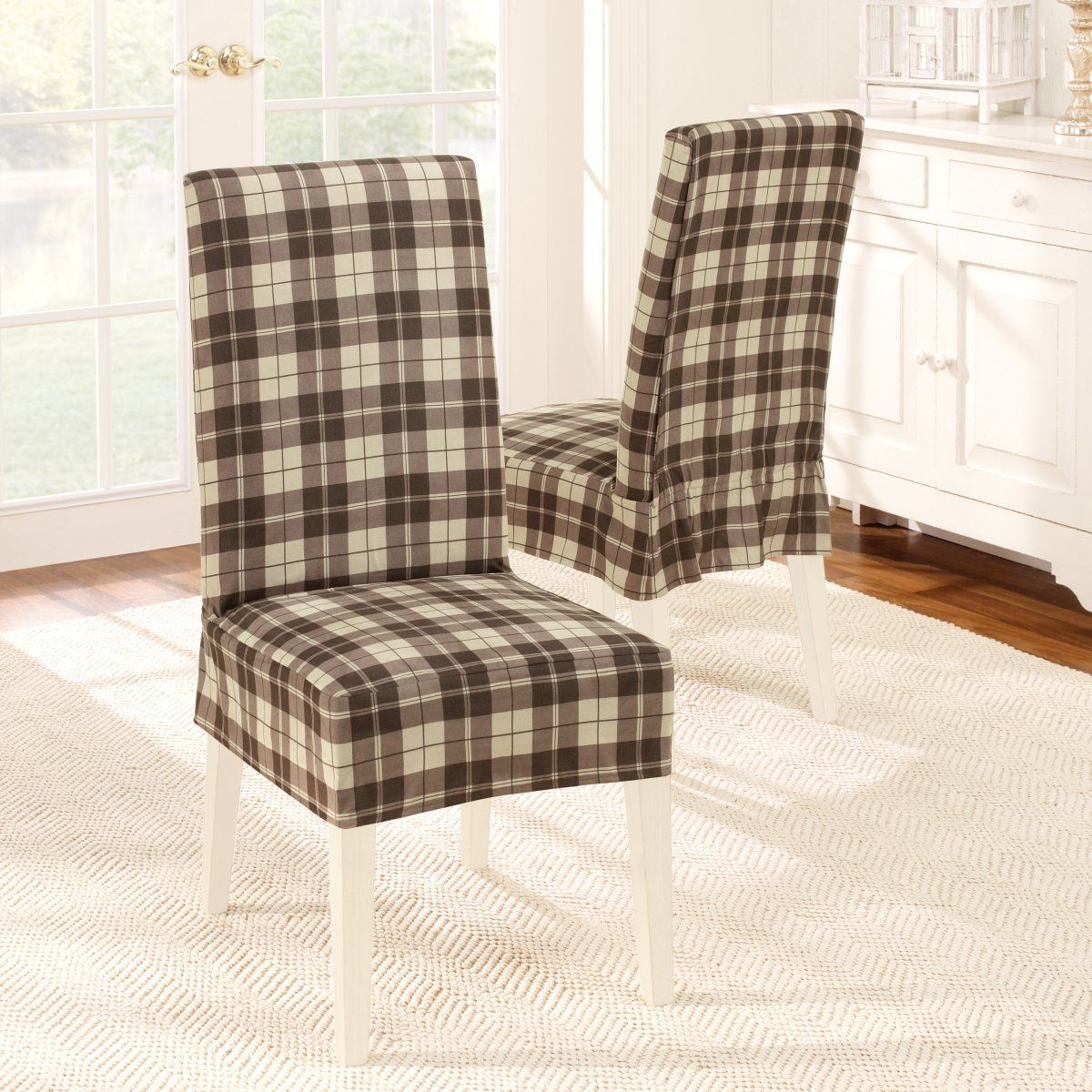 12 Beautiful Dining Chair Slipcover Design Ideas Appealing Brown Tartan Plaid Pattern Inspiration Offering C