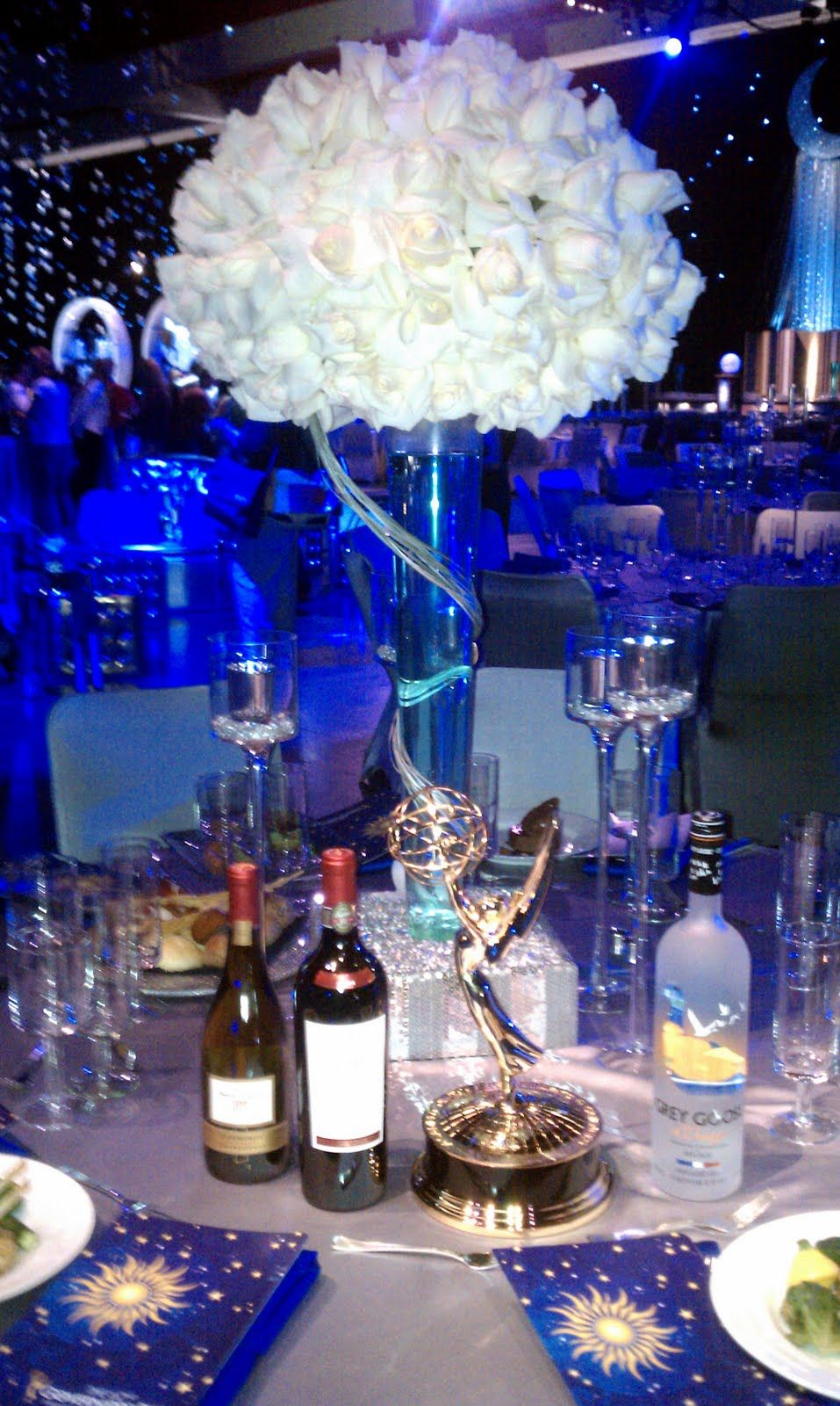 Starry night wedding reception tall centerpiece starry for Midnight blue centerpieces