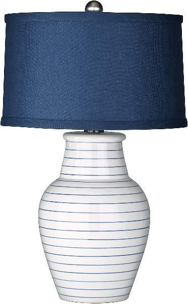 Luxury Home Decor Redondo Navy Blue And White Beach Lamp With Shade Beach Lamps Lamp Table Lamp