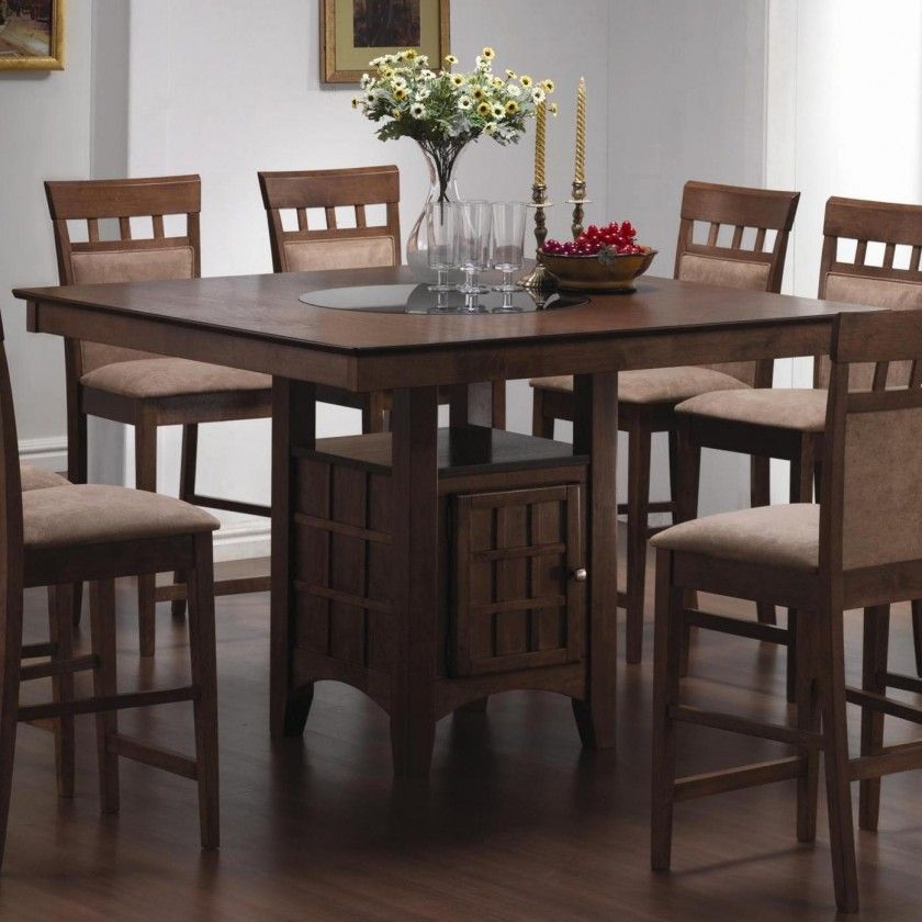 Elegant Brown Wooden Counter Height Dining Table With Storage
