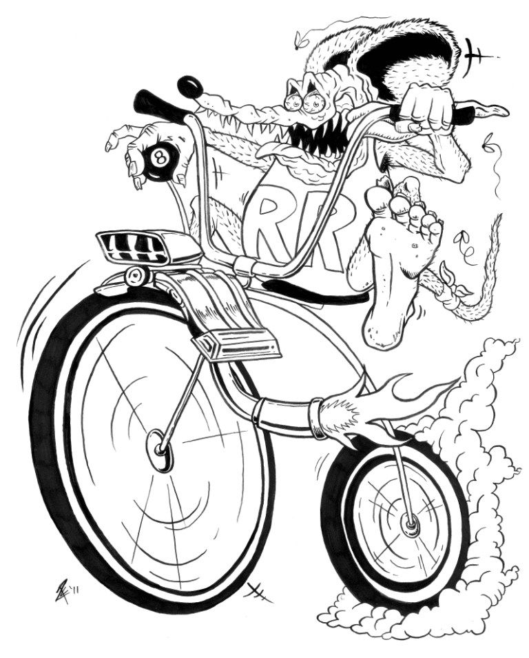 Rat Fink character atop a high wheel bicycle with ape hanger