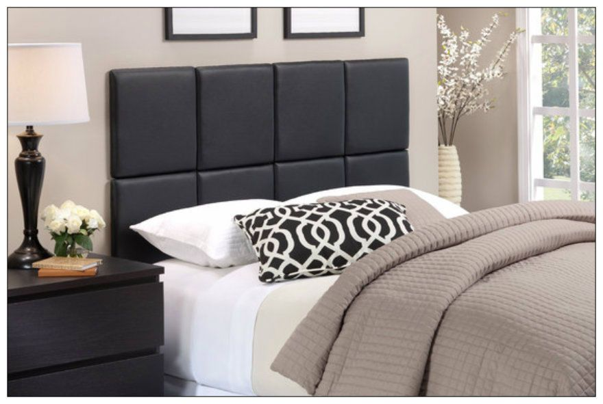 faux leather headboard upholstered wall mounted self adhesive bed tiles black bedroom reno. Black Bedroom Furniture Sets. Home Design Ideas