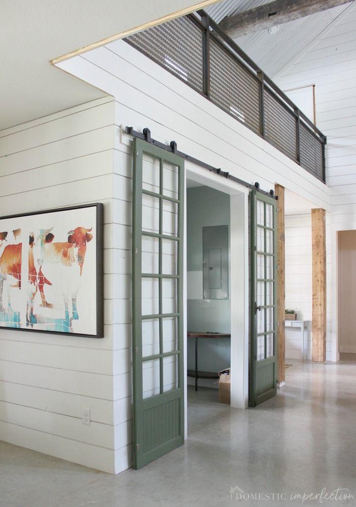 Green And Glass Sliding Barn Doors Pinterest Double Sliding Barn
