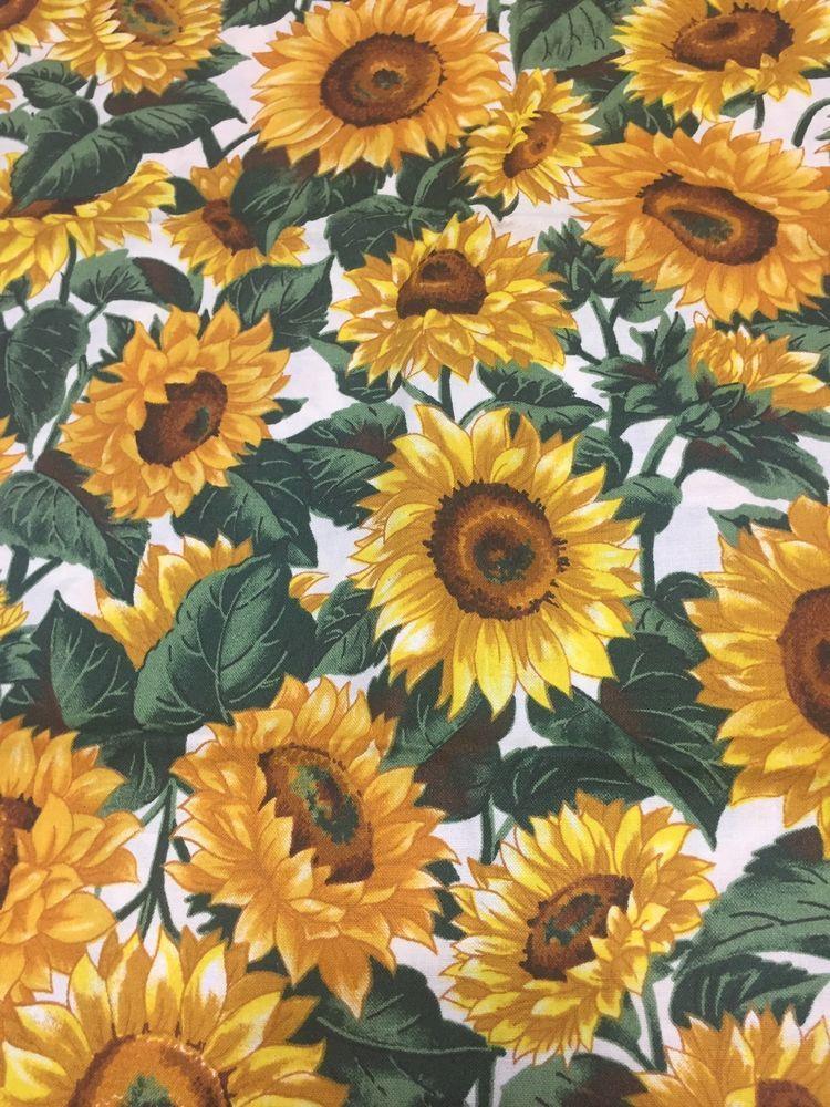 Sunflowers White Background Joan Messmore Cotton Fabric