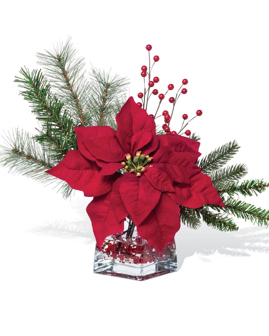 Silk Poinsettia Accent Christmas flower arrangements