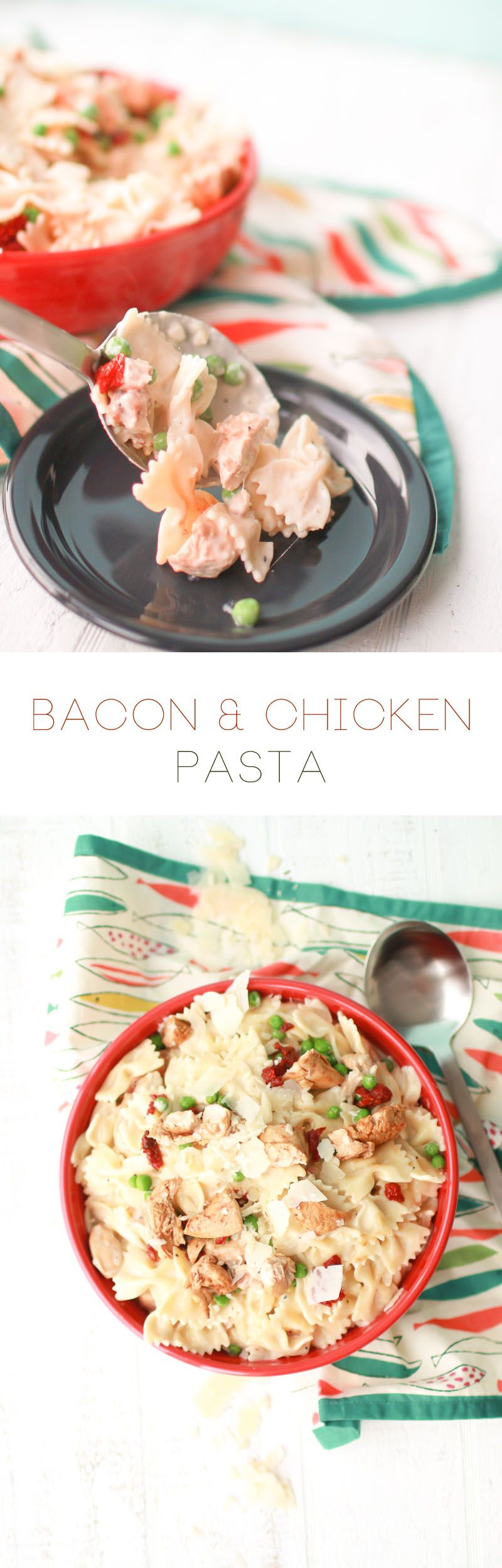 Bacon Chicken Pasta served in a Fiesta® Dinnerware XL Bistro Bowl | Oh So Delicioso