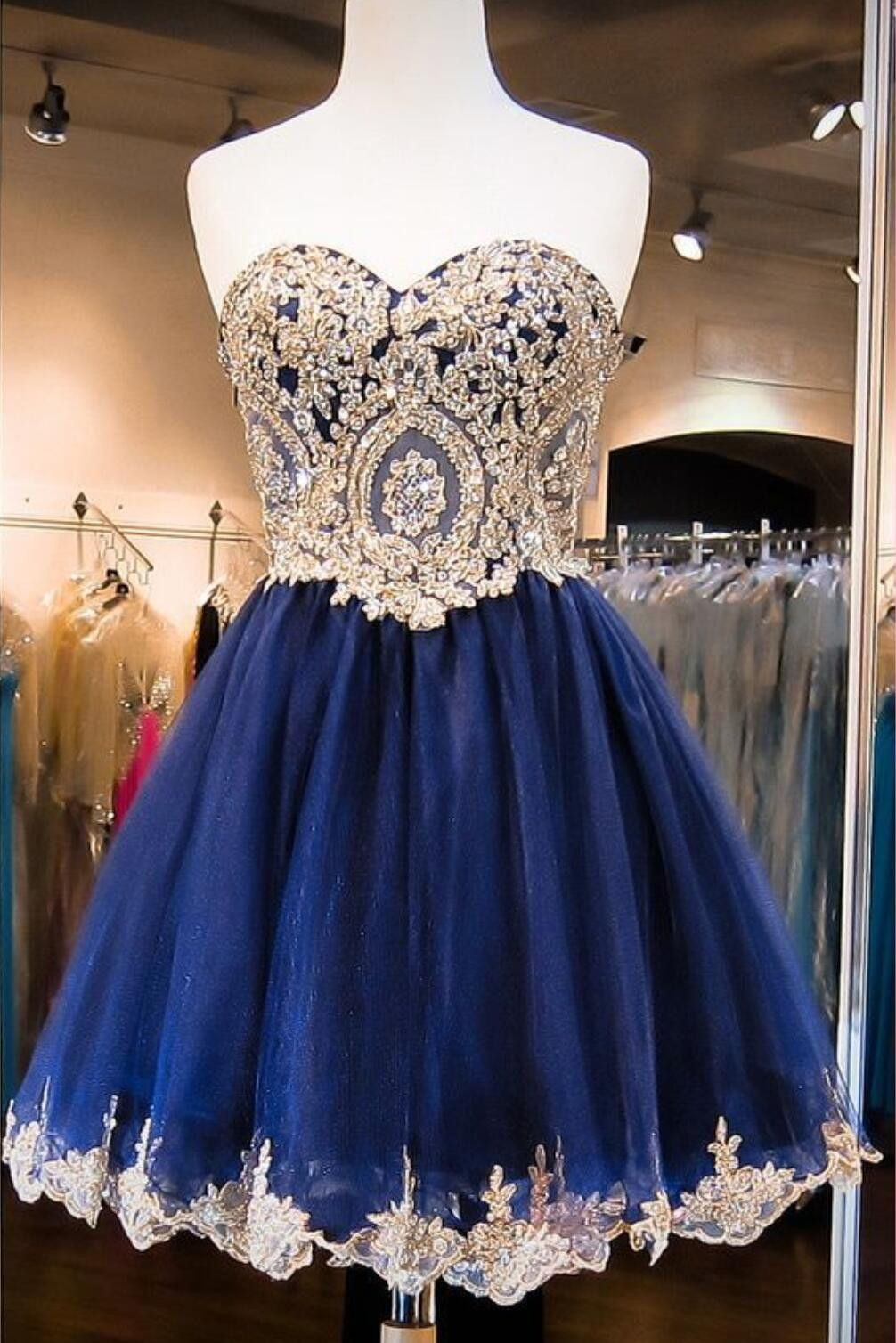 bfa720ad2f4 Navy Blue Skirt Gold Lace Beaded homecoming prom dresses