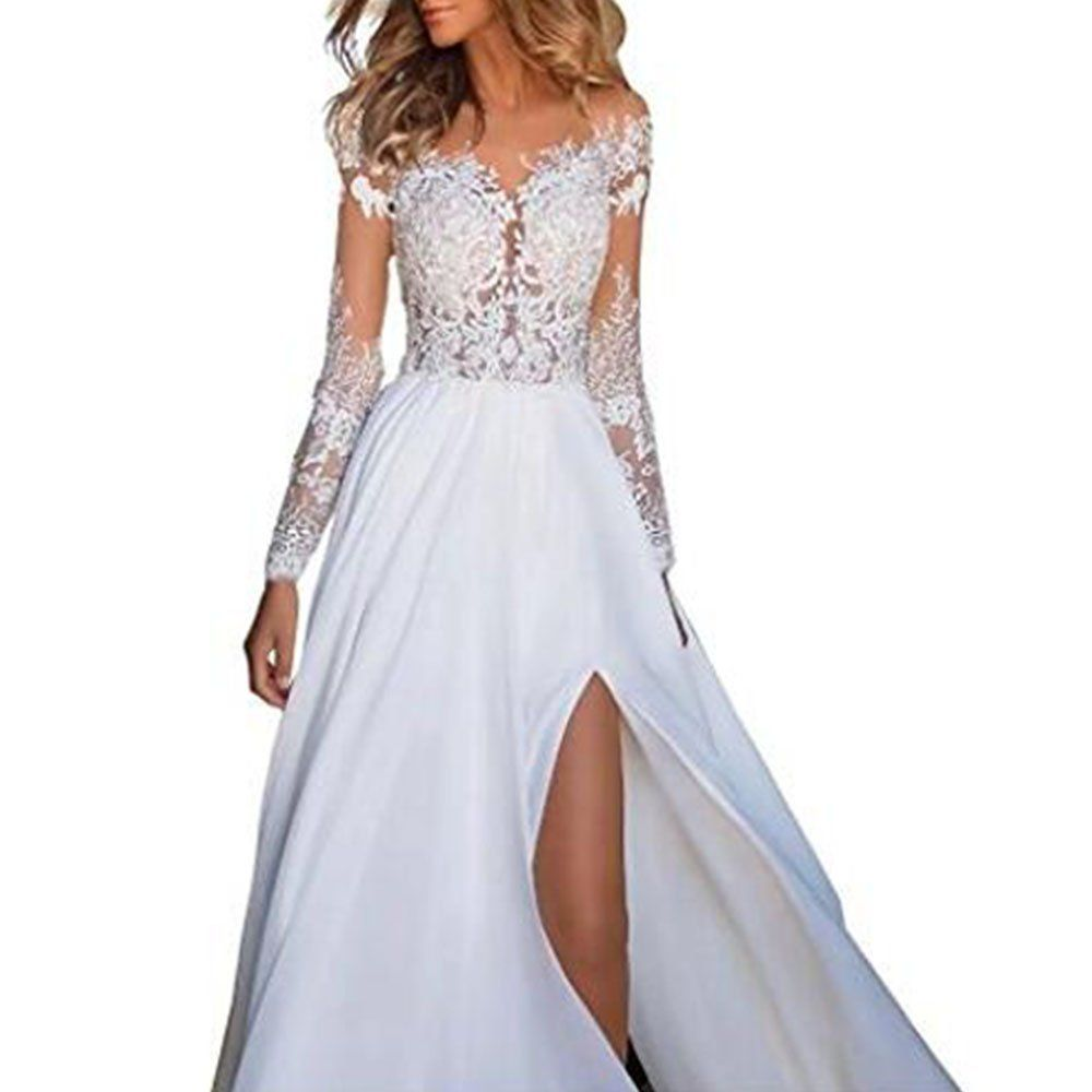 Shushaliying Womens Lace Split Ends Beach Wedding Dress Prom Dress Boho Wedding Gowns Bridal Dr Prom Dresses With Sleeves Prom Dresses Long Bridal Gowns Online