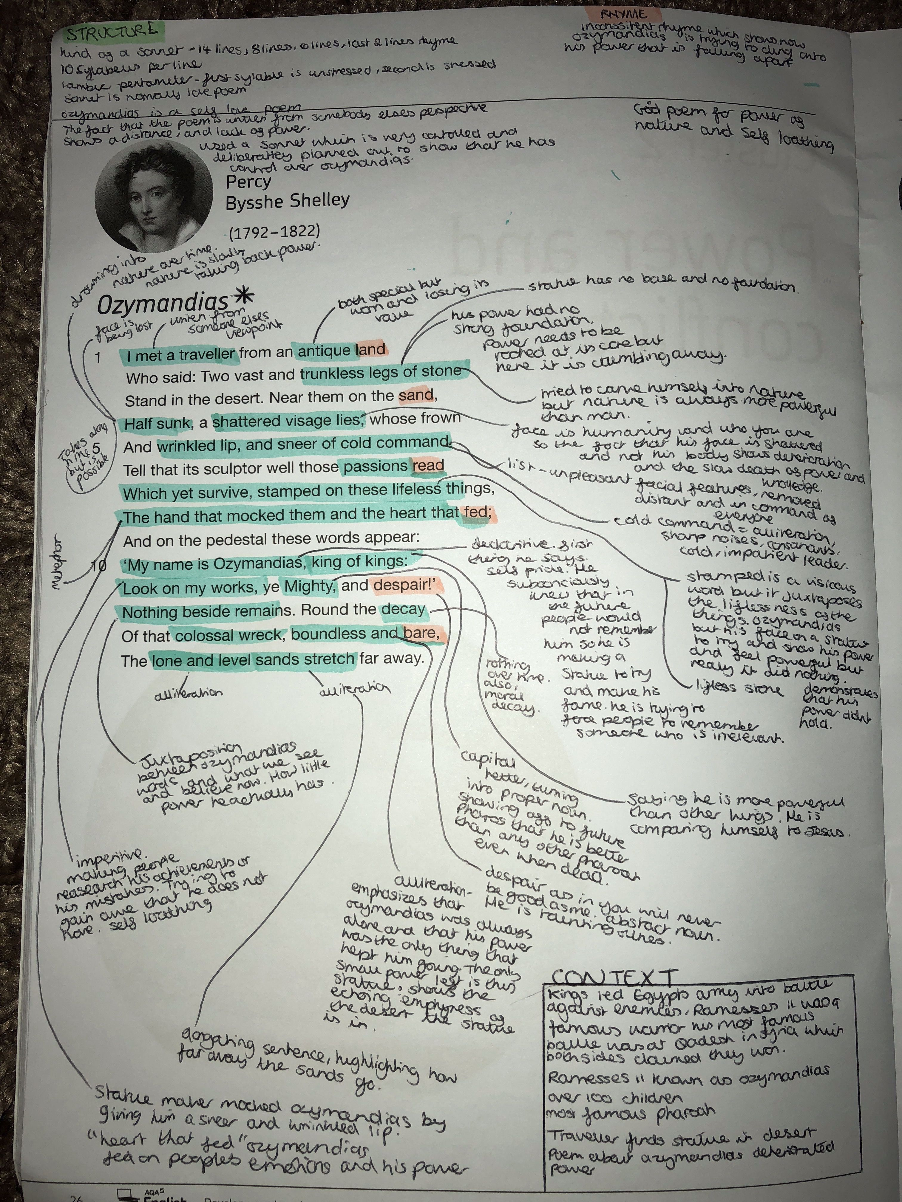 Gcse English Lit Power And Conflict Poem Ozymandia Revision Studyinspo Language Analysi Literature By Percy Bysshe Shelley Analysis